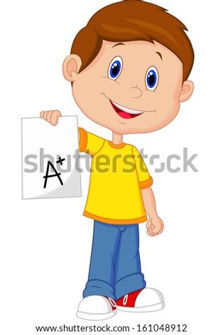 Boy showing A plus grade - stock vector