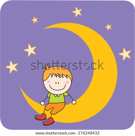 Boy sitting on the moon - stock vector