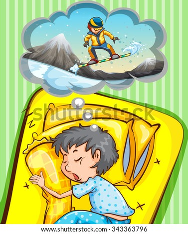 Boy sleeping and dreaming of snowboarding illustration