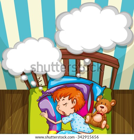 Boy sleeping in bed illustration - stock vector
