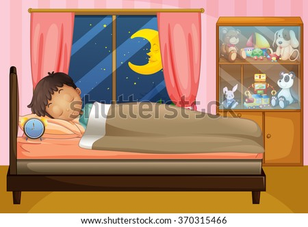 Boy sleeping in his bedroom illustration - stock vector