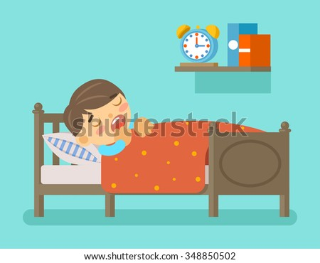 Boy sleeping in the bed. Bedtime and room with young kid, vector illustration - stock vector