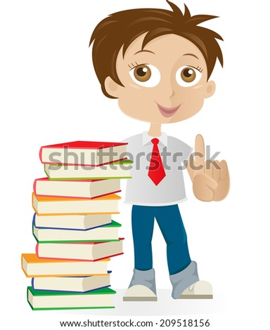 Boy standing by books with finger up - stock vector