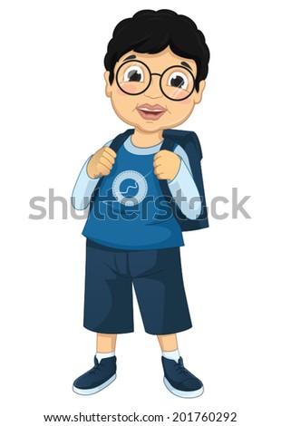 Boy Student Vector Illustration - stock vector