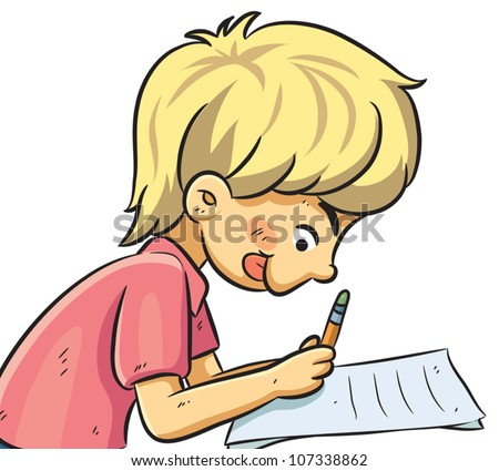 Boy Studying - stock vector