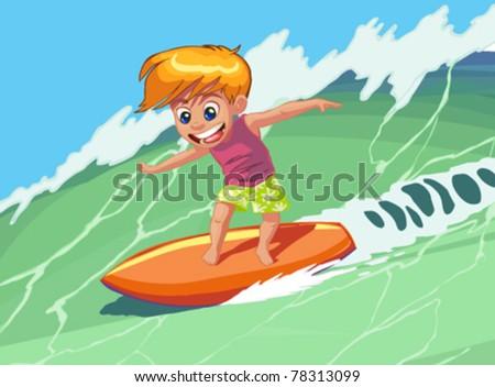 Boy Surfer - stock vector