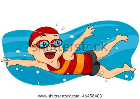 Boy swimming - Vector - stock vector