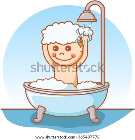 Boy take a bath doodle  - stock vector