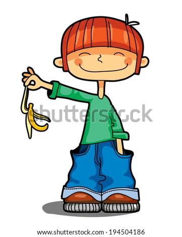 boy throws banana's peel - stock vector