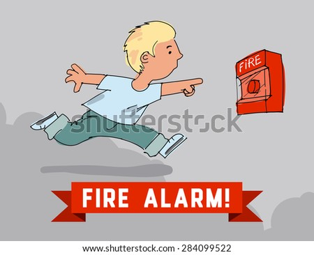 Boy turns on the fire alarm system - stock vector