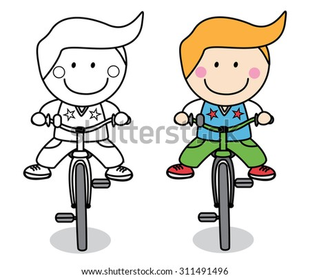 boy using bicycle - stock vector