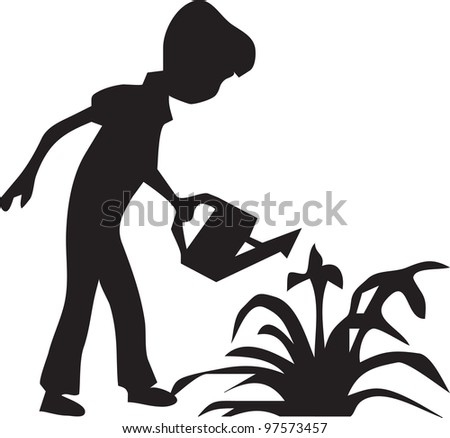 boy watering the flowers - stock vector