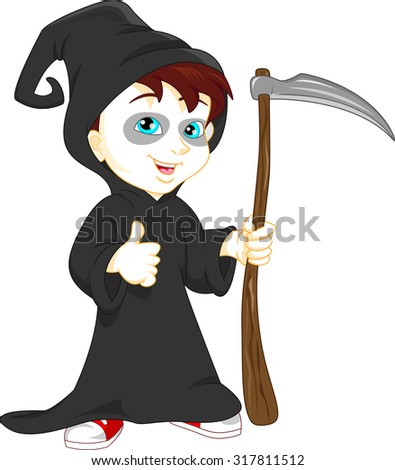 boy wearing grim reaper with scythe costume - stock vector