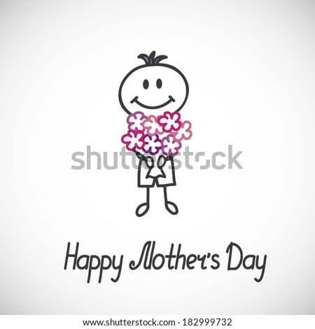 Boy with a bouquet of flowers (cartoon doodle).Happy mothers day card - stock vector