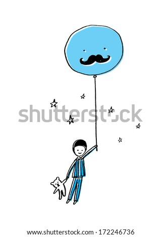 boy with balloon and teddy bear vector/illustration - stock vector