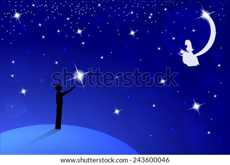 boy with big bright flower standing on earth and look to beautiful girl on moon,  dark blue sky with many bright stars, vector illustration - stock vector