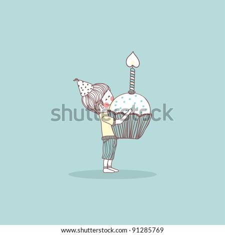 boy with birthday cupcake - stock vector