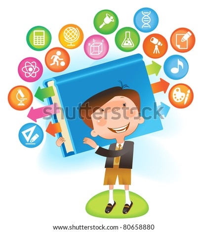 boy with book.THE SCHOOL OF SCIENCES - stock vector