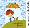 Boy with cat in the rain - stock vector