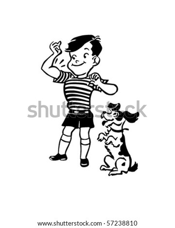 Boy With Dog - Retro Clip Art - stock vector