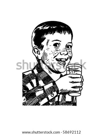 Boy With Drinking Glass - Retro Clip Art - stock vector