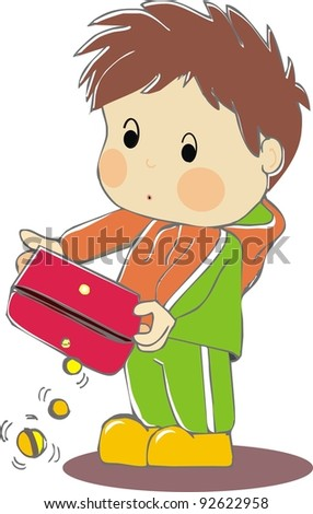 boy with empty wallet - stock vector