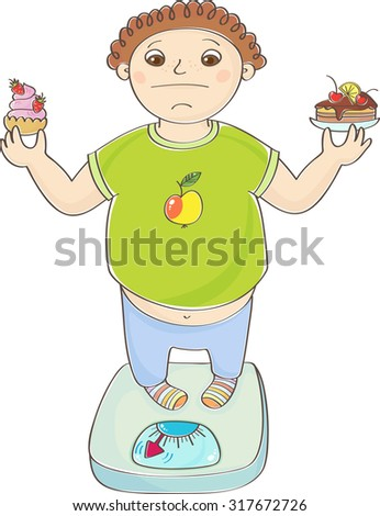 Boy with overweight standing on the scales with a cakes in hands - stock vector