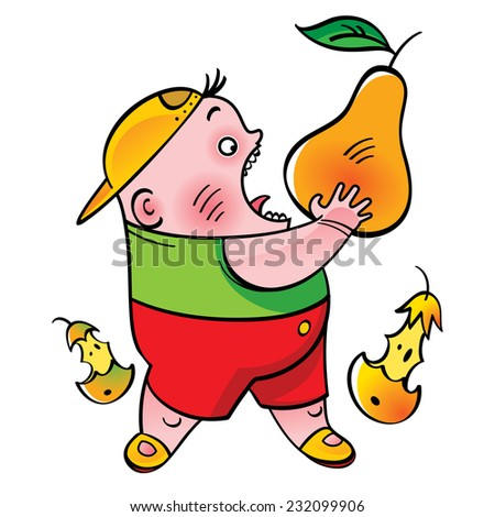 Boy with pear - fruit, food, bite - stock vector