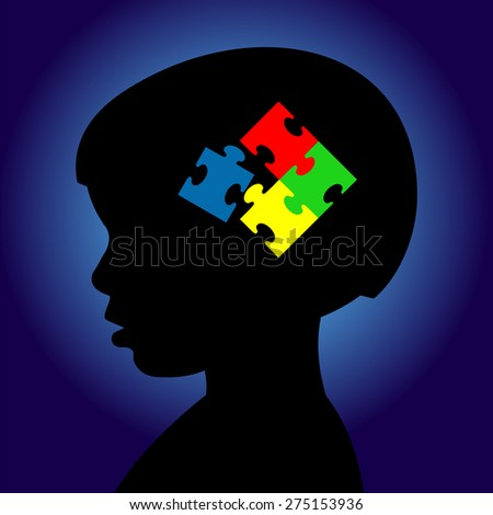 Boy with puzzle in mind. Autism awareness - stock vector