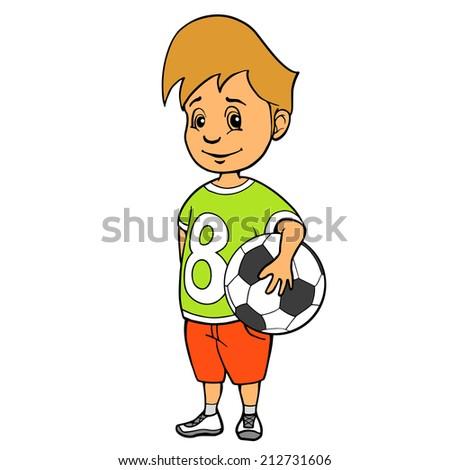 Boy with soccer ball. Vector illustration - stock vector
