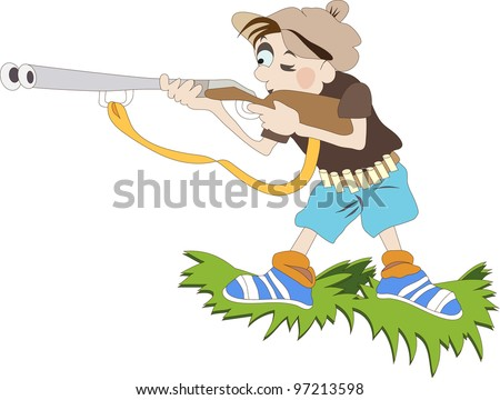 boy with the gun stands on the edge of the meadow - stock vector