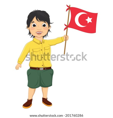 Boy with Turkish Flag Vector Illustration - stock vector