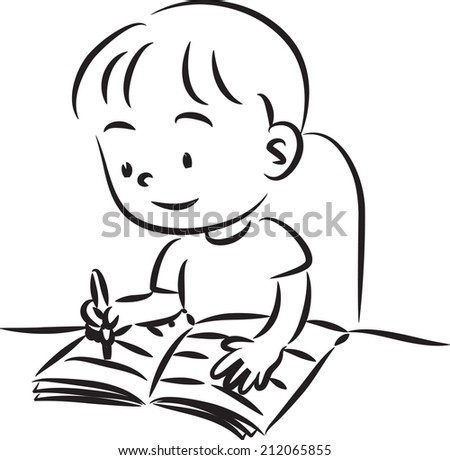 boy writing stock vector 212065855 shutterstock