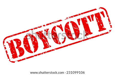 Boycott red stamp text on white - stock vector