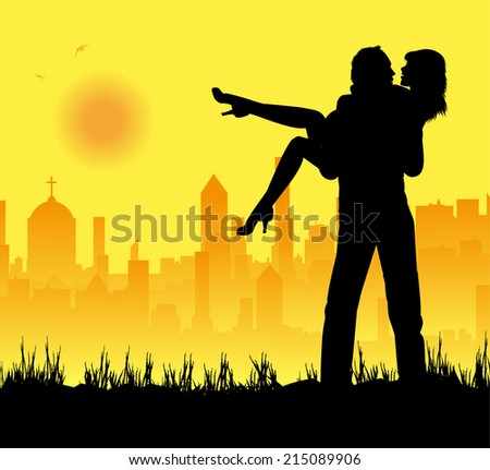 boyfriends who embrace and city in the background - stock vector
