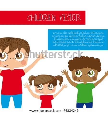 boys and girl with up arms over white background. vector illustration - stock vector