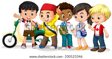 Boys and girl working in group illustration - stock vector