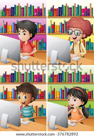 Boys and girl working on computer illustration