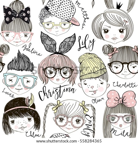 Boys Girls Cartoon Faces Pattern Kid Stock Vector 558284365 ...