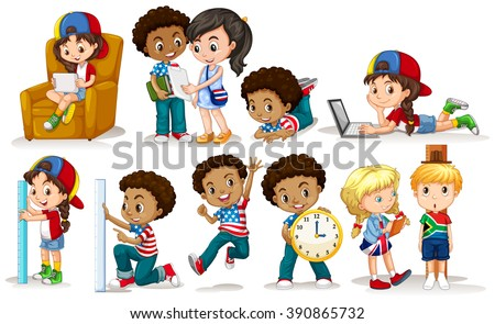 Boys and girls doing different activities illustration - stock vector