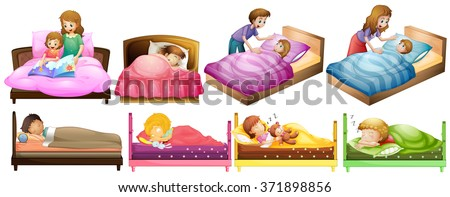 Boys and girls in bed illustration - stock vector