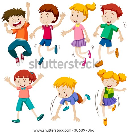 Boys and girls in different actions illustration - stock vector