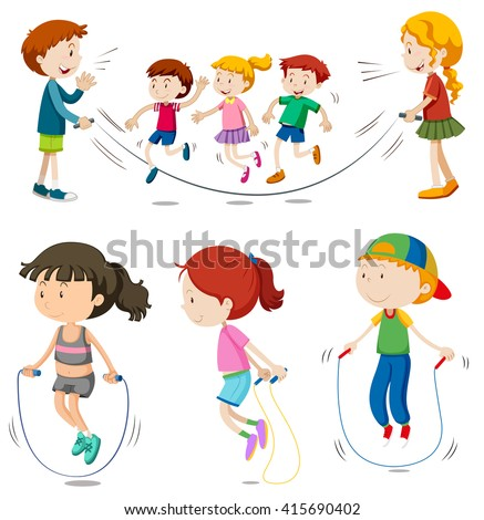 Boys and girls jumping rope  illustration - stock vector