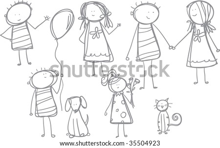 Boys and Girls Loose Sketch doodles - stock vector