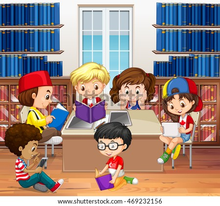 Boys and girls reading in library illustration
