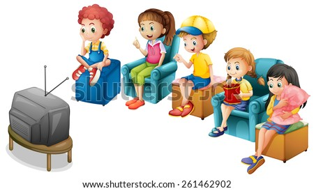 Boys and girls watching television on chairs - stock vector