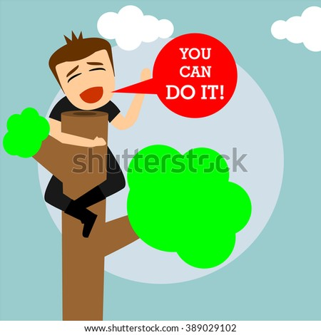 boys cartoon character - encouragement from top of the trees  - stock vector
