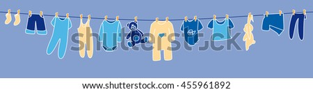 Boys' clothes and toys drying on the clothesline. Banner. - stock vector