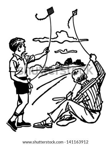 Boys Flying Kites - Retro Clip Art Illustration - stock vector