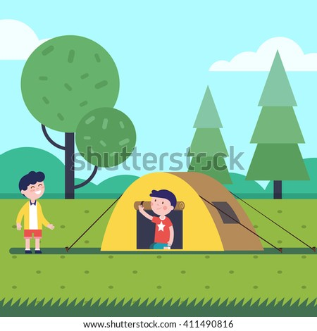 Boys having a good hike sleep with a tent. Happy kids characters. Modern flat vector illustration clipart. - stock vector